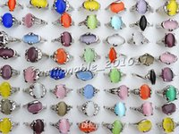 Mezclados clasificados Gato colorido del natural del ojo de la piedra preciosa de piedra de plata del tono de las mujeres de los anillos R0135 Nueva joyería 50pcs / lot