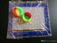 실리콘 왁스 키트 14cm * 11.5cm 스퀘어 시트 패드 매트 5ml 실리콘 컨테이너 건조 허브 항아리에 대 한 긴 골드 dabber 도구