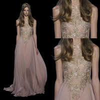 2016 Elie Saab Sheer Crew Neck Lace Appliques A-line Prom Dresses Beaded Floor Length Evening Gowns Party Gowns BO9814