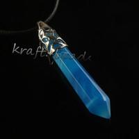 commercio all'ingrosso 10pcs fascini placcato argento naturale banda blu agata pietra di cristallo forma esagonale pendolo gioielli ciondolo a colonna