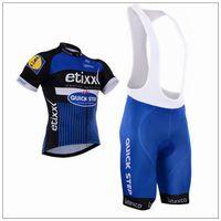 2016 ETIXX 빠른 단계 프로 팀 블루 Q2 짧은 소매 사이클링 여름 여름 사이클링 로프 CICLISMO + BIB 쇼트 3D 젤 패드 크기 설정 : XS-4XL