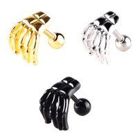 Europe et les États-Unis populaire hypoallergénique piercing bijoux nouveau squelette fantôme main sourcils boucles d'oreilles anneau de nez