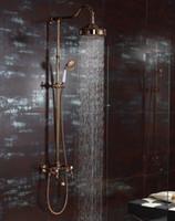 무료 배송 로즈 골드 우드 샤워 샤워 꼭지 믹서 수도 꼭지 벽에 장착 된 handshower