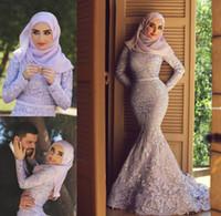 Lavendel-High-Hals-lange Ärmel voll gesäumter Meerjungfrau-Muslim-Abendkleider mit kostenlosen Hijab-Spitzenapplikationen Kapellen-Zug-Engagement-Kleider