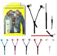 Neuer heißer Reißverschluss in -ohr 3,5mm Kopfhörer mit Mic Metallknospen Zipper Headset Kopfhörer für MP3 iPhone Samsung HTC und Retail Box