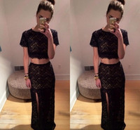 Real Due pezzi Prom Dresses 2015 con Sexy Lace Girocollo Manica corta Glamorous High Side Slit Open Back Mermaid Black Evening Gowns