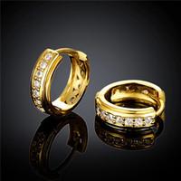 Högkvalitativ 18K guldpläterad Swiss CZ Diamant Small Hoop Örhängen Gratis Frakt Mode Smycken Bröllopsgåva För Kvinna