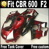 Бесплатные 7 подарков для HONDA CBR 600 F2 пользовательские обтекатели 1991 1992 1993 1994 черный красный CBR600 91-94 комплект обтекателей RP7