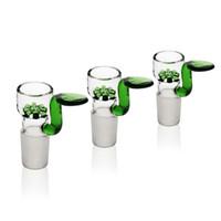 yeşil kar tanesi cam suyu bonglar kurulamak el yapımı bong kafa berrak su ucuz boruları 14mm 18mm Erkek Ortak Kaseler Sigara kase Reanice
