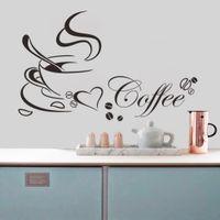 Tazza di caffè con cuore Vinyl Quote Ristorante Cucina Adesivi murali rimovibili Adesivi da muro fai da te decorazione della casa Art Mural Drop Shipping Jia214