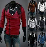Frete grátis Novo Assassin's Creed 3 Desmond Milhas Moletom Com Capuz Casaco Top Jaqueta Traje Cosplay, assassins creed estilo Com Capuz casaco de lã, @ dds