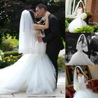Lussuoso 2015 della sirena del merletto d'epoca Abiti da sposa abiti da sposa sexy Backless spalline Paillettes Tulle Puffy Gonna Abiti da sposa