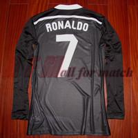 Jogador desgastado problema RM 1415 3ª camisa de dragão preto jersey mangas compridas Bale Ronaldo Ramos Futebol Futebol Nome personalizado Patrocinador