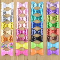 60 teile / los 32c 8 cm kinder boutique bowknots ohne clip pailletten bögen für baby mädchen diy stirnbänder haarschmuck