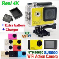 SJ8000 WiFi Spor Eylem Kamera Ultra HD gerçek 4 K Su Geçirmez Dalış 2.0 LTPS 1080 P kask Kamera Araba DVR Kamera + Ekstra pil + Şarj