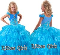 2020 저렴한 프로모션 계층 드레스 꽃 슬리브 뻗 치마 선발 대회 가운 Ritzee 여자 오간자 여자 선발 대회 드레스 HY1152