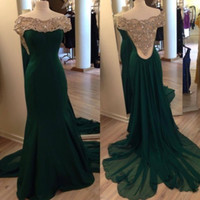 Dark Green Fromal Evening Dresses Off Shoulder Long party Dress women Dress caftans Beaded Crystal Long prom Gowns 2015