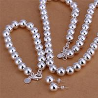 S082 Fabrik Preis 925 Sterling Silber überzogene 10 MM Gebetskette Halskette Armband Ohrringe Modeschmuck Set Hochzeitsgeschenk für Frau