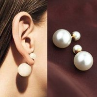 Double Pearl Earrings Simulated Pearl Jewelry Multicolor Sid...