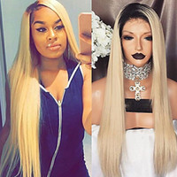 New Cosplay Ombre Wigs Black Blonde Long Silky Straight Lace...