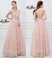 2015 elegantes vestidos de baile de noche de encaje transparente rosa una línea de noche con cuentas vestidos de fiesta espalda abierta Tulle vestidos formales de cristal