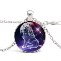 Collane con ciondolo zodiacale Constellation Luminoso Cabochon in vetro blu Light in the Dark Regalo di fascino Collana all'ingrosso di gioielli