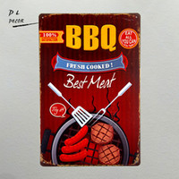 DL- Metal Tin Sign BBQ fresh cooked best meat Bar Pub Vintage...