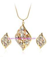 collar de perlas de boda con perlas de diamantes (44 + 3 cm adicionales) aretes (3.2 * 2 cm) (myyhmz)