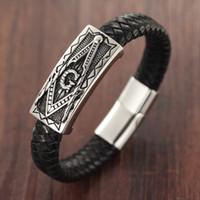 Il design è il nuovo magnete in acciaio inossidabile Chiusura con bracciale in vera pelle Massoneria massonica maschile