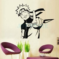 Anime Cartoon Naruto Holding Weapon Run Attack Cool Propile Etiqueta de la pared Decal Home Decor For Anime Fans