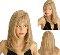 Z&F Blonde Wig Medium Wigs Bang Curly Wig 16 Inch Wave Natur...