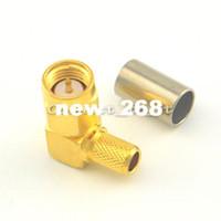 50 piezas / lote SMA macho enchufe ángulo recto para cable conector para RG58 LMR195 Cable