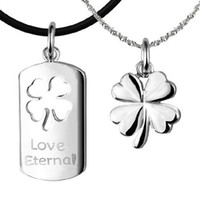 Envío gratis 925 Sterling Silver Jewelry Couple Lucky Clover Pendants
