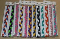 100 stks 3 strengen gevlochten mini hoofdband voor yoga run dance workout cheerleader school kleuren haarband