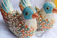 2016 populaire sacs de soirée de luxe Étincelant Cristal femmes Embrayages coloré Oiseau modèle Dames sacs à dîner Embrayages bourse SC035