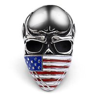 ZE American Flag Stainless Steel Skull Ring For Man Personal...