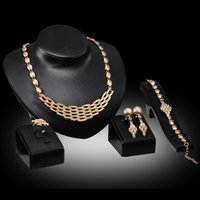 Schmuck Sets Gold Plated Statement Halskette Armband Ohrring Ring Mode Kristall Braut und Brautjungfer Hochzeit Juwelier