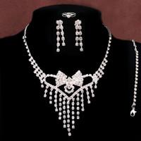 Novo Coração Oco Com Pérola 18 K Banhado A Prata Cristal Austríaco Nupcial / Conjuntos de Jóias de Casamento Para As Mulheres Frete Grátis Wholeslae