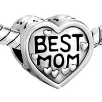 Родия сердце Love My Best Мама Big Hole Европейский бисера Fit Pandora Chamilia Biagi браслет
