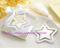 100 stücke ein stern ist geborene edelstahl metall metall lesezeichen baby shower favors stern lesezeichen mit weiß quaste hochzeit favoriten bomboniere geschenk