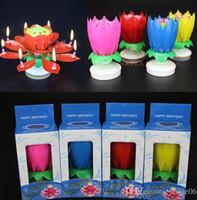 2 층 꽃잎 음악 촛불 어린이 생일 파티 로터스 스파클링 플라워 캔들 라이트 불꽃 놀이 물웅덩이 불꽃 불꽃 케이크 액세서리 선물