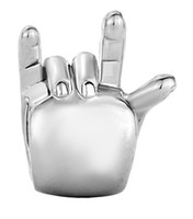 Femmes bijoux européen je t'aime gestes signe de la main languette métal spacer Bead Charmes lâches Convient au bracelet de charme Pandora