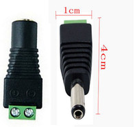 Cámaras CCTV 2.1mm x 5.5mm hembra / macho Adaptador de enchufe de corriente continua para un solo color 5050/3528 tira led, conector jack 50pcs / lot