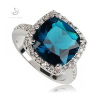 New Arrivals Romantic Dark blue Cubic Zirconia Silver Plated...