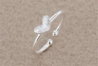 Nouvelle Arrivée Silver Bague 925 Sterling Sterling Pure Love Shape Coeur Pure Silver Taille Réglable Taille Gratuite