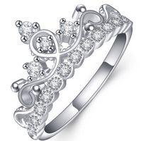 Ren! 925 Sterling Silver Luxury 18k Solid Vit Guldpläterad Österrikisk Kristall Zircon Gemstone Ringar Engagement Bröllop Princess Crown Rings