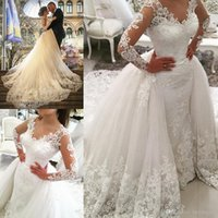 V Neck Long Sleeves Lace Appliques Sweep Train White Elegant...