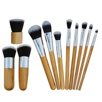 11pcs set Professional Makeup Brushes Kit Bamboo Handle Loos...