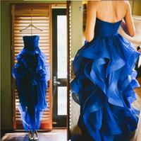 Immagine reale 2021 dei vestiti da partito abiti con Royal Blue Prom Zipper abiti di sera di Figura intera Organza Prom Dresses su ordine