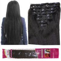 8A 120 جرام / وحدة كليب في الشعر البشري البرازيلي مستقيم 8 قطعة / المجموعة 1B أسود طبيعي متموج مجعد الشعر